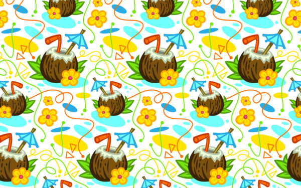 coconut drink cartoon pattern