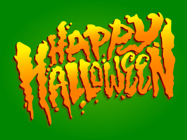 Happy Halloween text graphic